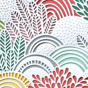 Paper Garden Multi Color Large Scale- Spring- Summer- Home Decor-- Jumbo Scale Botanical Wallpaper- Floral