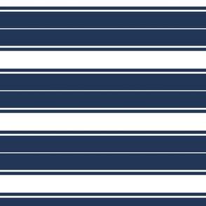 navy blue french stripe boat neck marine sailor nautical polo shirt multi stripe reversed horizontal
