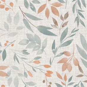 Forest Leaves and Branches on Beige