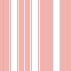 pink blossom french stripe boat neck marine sailor nautical polo shirt multi stripe reversed vertical