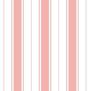 pink blossom french stripe boat neck marine sailor nautical polo shirt multi stripe vertical