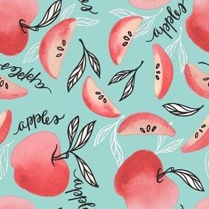 Red Apples in Seafoam