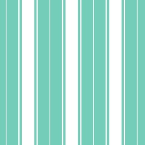 teal biscay green french stripe boat neck marine sailor nautical polo shirt multi stripe reversed vertical
