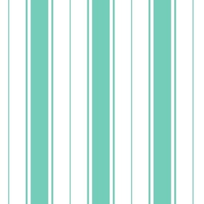 teal biscay green french stripe boat neck marine sailor nautical polo shirt multi stripe vertical