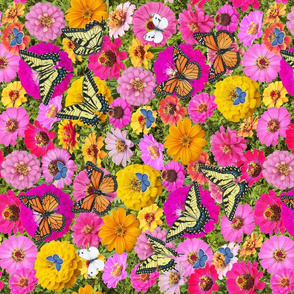 butterflies and zinnias 9X8 pleated mask