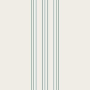 faded teal surf spray on cream grain sack french country farmhouse ticking nine stripe 12 inches apart