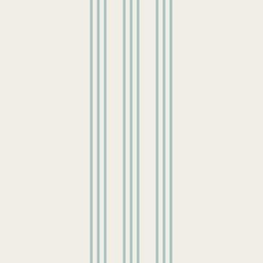 faded teal on cream grain sack french country farmhouse ticking nine stripe 12 inches apart
