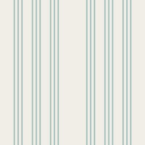 faded teal on cream grain sack french country farmhouse ticking nine stripe