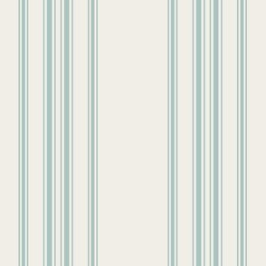 faded teal on cream grain sack french country farmhouse ticking twelve stripe