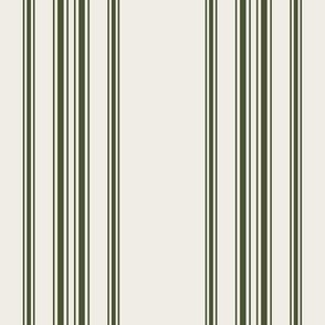 chive green on cream grain sack french country farmhouse ticking twelve stripe