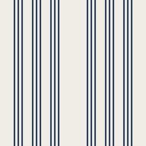 navy set sail on cream grain sack french country farmhouse ticking nine stripe