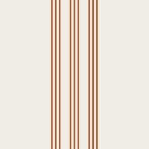 rust on cream grain sack french country farmhouse ticking nine stripe 12 inches apart