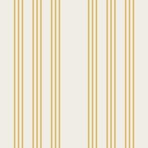 misted yellow on cream grain sack french country farmhouse ticking nine stripe