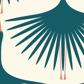 "Art Deco Swans - 12"" - Teal, Cream, Coral"