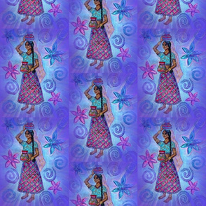 Indian Woman Carrying Pots on turquoise and light purple backgraound