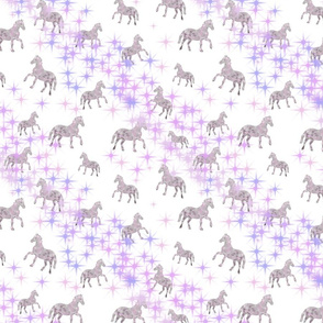 Tiny pink horses with pink stars - girls bedroom decor
