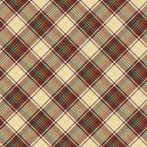 Retro Diagonal Plaid in Brown and Cream