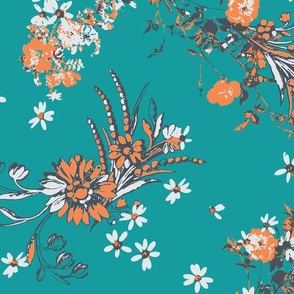 flowers bouquets orange white teal