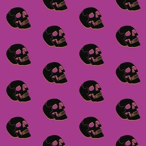 Skull pink yellow black