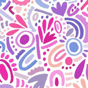 Colourful abstract shape pattern in pink and purple