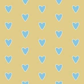 Wee Lil Nature Baby, Polka-dot Hearts - Blue White Yellow Small