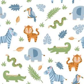 Jungle Animals on White