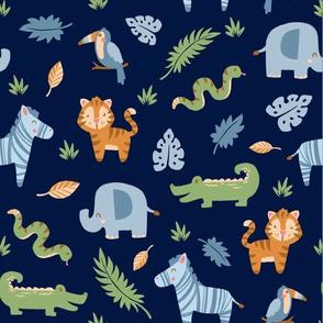 Jungle Animals on Blue