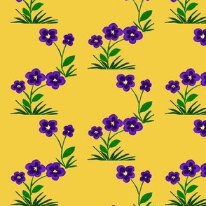 Purple Fantasy Flowers on Pale Gold - Medium Scale