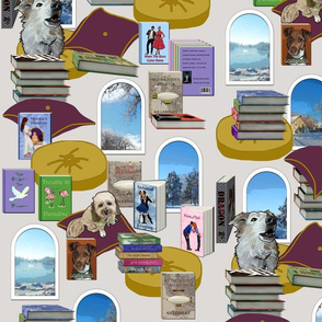 Cozy Library Books and Dogs