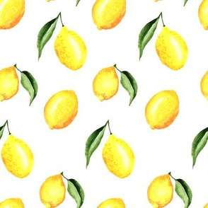 Classic watercolor lemons on white
