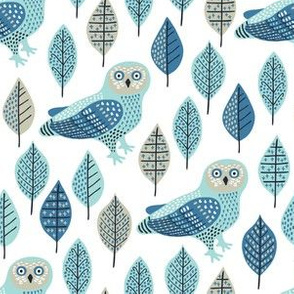 owl and leaves pattern