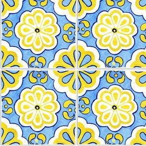 Azulejo Hand Drawn Flowers