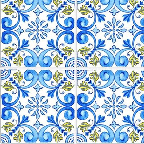 Classic Floral Azulejo Tiles with realistic ceramic texture