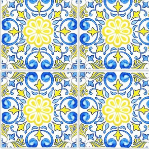 Yellow and Blue Floral Tile