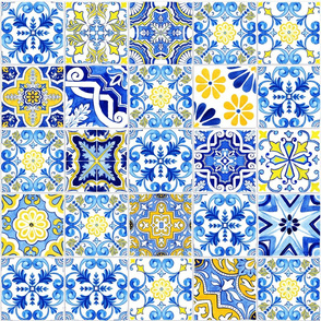 Azulejo Tiles Watercolor Collage