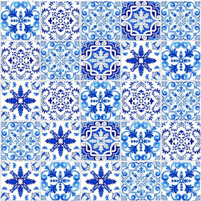 Blue Azulejo Tiles Collage