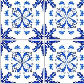 Blue Classic Azulejos with realistic ceramic  texture