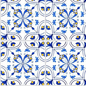 Geometrical Florals Azulejos Tiles - Watercolor Handdrawn Art