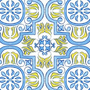 Traditional Geometry Azulejos Tiles - Watercolor Handdrawn Art