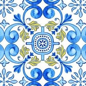 Mediterranean Azulejos Curles with realistic ceramic texture
