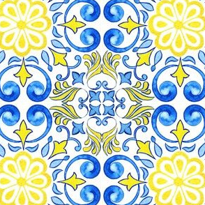 Sunny Azulejos Tiles - Watercolor Handdrawn Art