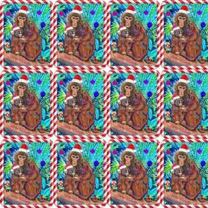 Santa Monkey and Baby in Christmas Decor