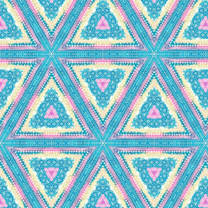 Kaleidescope triangles in blues, pinks and beiges
