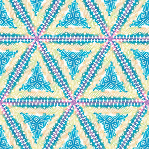 Art Deco  triangles in blues, turquoise, pink and beige