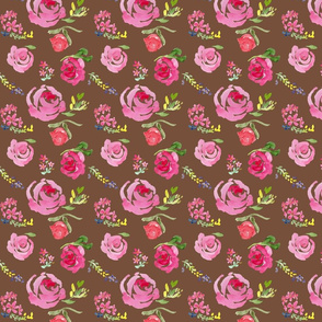 pink roses on warm brown