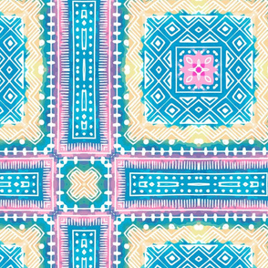 Quilting Blocks in turquoise, pink and beige