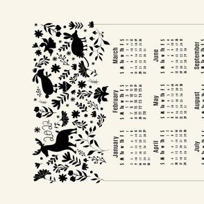 Tea towel Otomi Calendar 2021