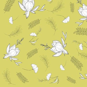 Sage Spring country print with ginkgo