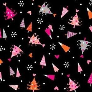 Pink Christmas trees on black