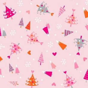Pink Christmas trees on pink